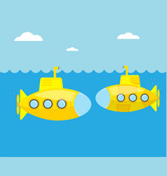 Yellow submarine in blue sea vector
