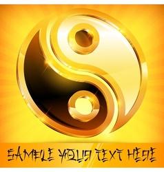 Yin yang gold symbol on vector image vector image