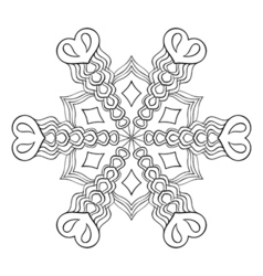 Zentangle elegant snow flake mandala for adult vector image vector image
