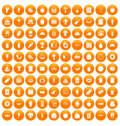 100 food shopping icons set orange vector
