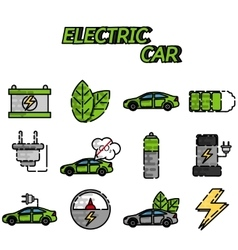 Electric car flat icon set vector