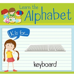 Flashcard letter K is for keyboard vector image