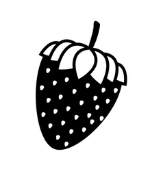Silhouette monochrome with closeup strawberry vector
