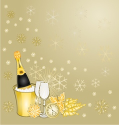 New year gold greeting card vintage vector