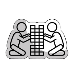 Kids playing silhouette isolated icon vector