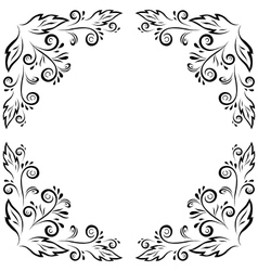 Abstract floral frame black contour vector