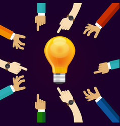 Many hands working together for an idea a bulb vector