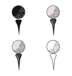 Golf ball on tee icon in cartoon style isolated on vector