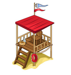 Rescue tower with all equipment isolated vector
