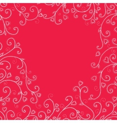 Vintage red background with hearts vector