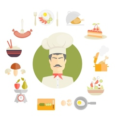 Cooking and food icons in fat style vector