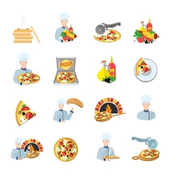 Pizza maker icon set vector