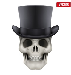 Human skull with black cylinder hat vector