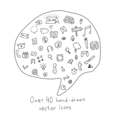 Collection of more than 40 hand drawn icons vector