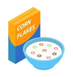 Corn flakes isometric 3d icon vector image