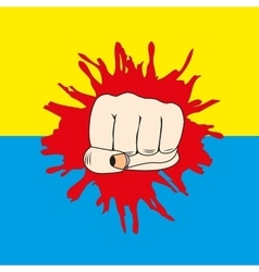 Fist and flag of the ukraine vector