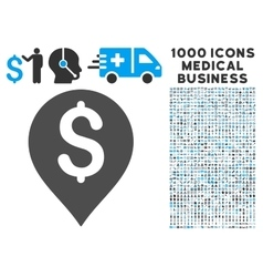 Bank map marker icon with 1000 medical business vector