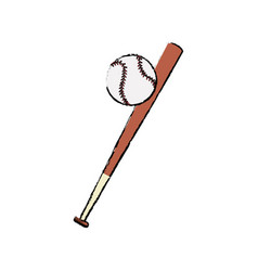 Bat and ball baseball sportive equipment vector