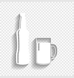 Beer bottle sign white icon with soft vector