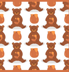 cartoon bear character teddy pose seamless vector image