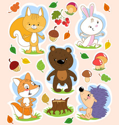 Cartoon isolated clip art with cute forest animals vector