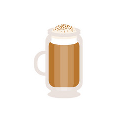 coffee cappuccino in a glass mug vector image vector image