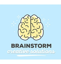 creative brain with text on blue backgrou vector image