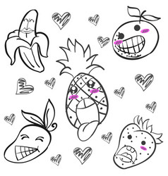 Cute fruit hand draw doodles vector