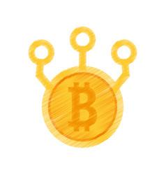 Drawing bitcoin web icon vector