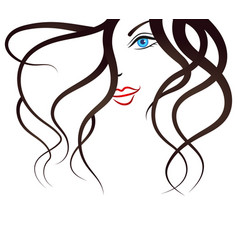 face of the young girl silhouette vector image vector image