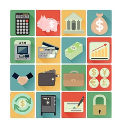 Flat icons finance set vector