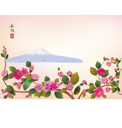 Fuji cherry blossoms spring has come vector