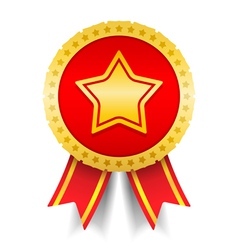 Golden Medal With Star vector image