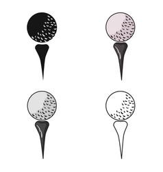 Golf ball on tee icon in cartoon style isolated on vector