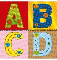 Letters abcd in patchwork style vector