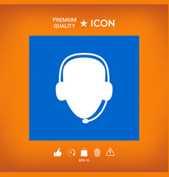 Operator in headset call center icon vector