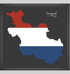 overijssel netherlands map with dutch national vector image
