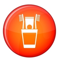 Plastic cup with brushes icon flat style vector image