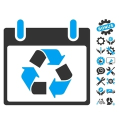 Recycle calendar day icon with bonus vector