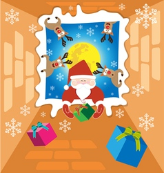 Santa claus and Reindeer send gifts on christmas vector image vector image