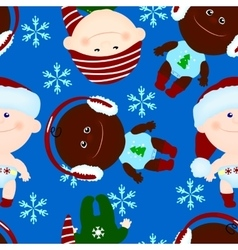 Seamless background baby kid christmas vector