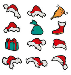 Set hats sack bell gift boot for santa claus vector