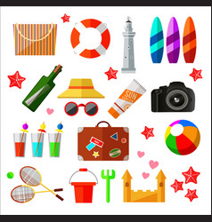 Set of different beach and relax icons and vector