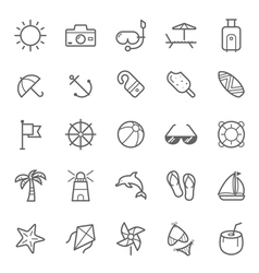 Set of Outline stroke Beach icons vector image