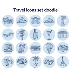 Sketch summer vacation elements set vector
