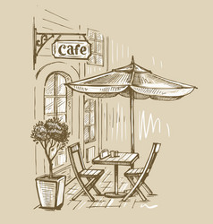street cafe in old town vector image