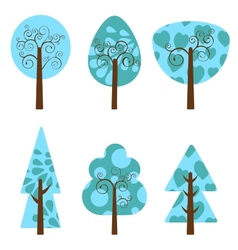 Winter trees collection vector image