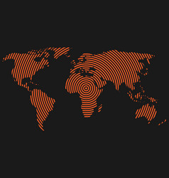 World map of orange concentric rings on dark grey vector