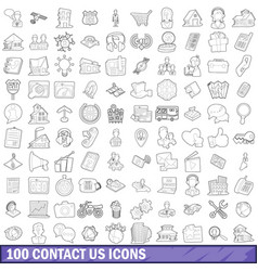 100 contact us icons set outline style vector