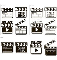 Movie black and white clapper boards vector